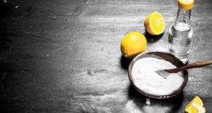 soda w miseczce, ocet, cytryna