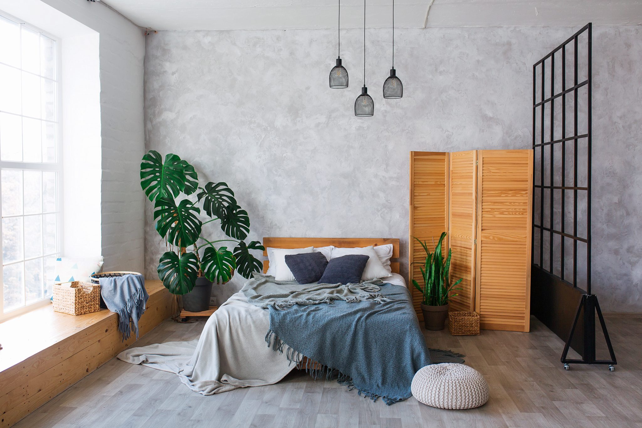 beton architektoniczny w sypialni